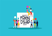Friendship Day card friends talk and chat bubbles