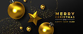 Christmas New Year gold black 3d ornament card