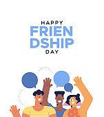 Friendship Day card of teen friends talking