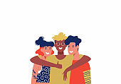 Three Happy friends in group hug isolated