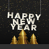 Happy New Year card of gold paper cut pine tree