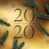 New Year 2020 gold cutout card and 3d pine tree
