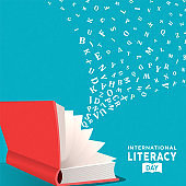 Literacy Day card concept open book and alphabet
