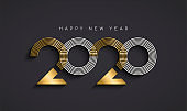 New Year 2020 abstract number date gold card