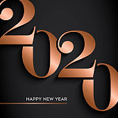 Happy New Year gold copper 2020 number card