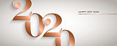 Happy New Year gold copper 2020 number banner
