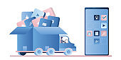 Truck with various applications in open box and big modern smartphone without part of apps