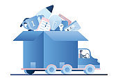 Truck with various business elements and apps in open box. New startup concept
