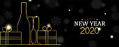New Year 2020 banner of gold art deco holiday gift