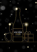New Year 2020 card of gold art deco party drink