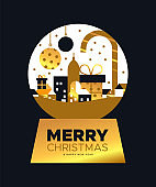 Christmas and New Year card of gold city snowglobe