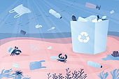 Different plastic garbage underwater. Ocean pollution background.Recycling concept.