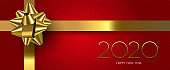 Happy New Year 2020 red holiday gift banner
