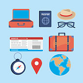 set of travel destination journay and location adventure