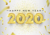 New Year 2020 gold glitter holiday greeting card