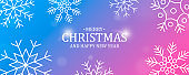 Christmas and New Year card of outline snowflakes