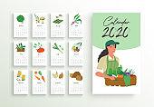 2020 year farmer market calendar planner template