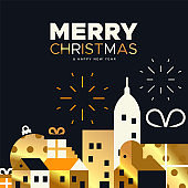 Christmas and New Year card of gold holiday city