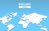 World map empty template with red location pin