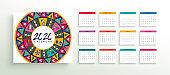 2020 abstract folk art calendar planner template