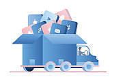 Truck with various applications in open box. Driver in cabin. Vehicle isolated