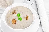 Mushroom creme soup closeup