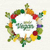 World Vegan Day card with vegetable icons