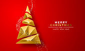 Christmas New Year gold 3d low poly tree red card