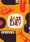 Jazz Day poster of retro music band instruments