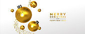 Christmas New Year banner gold 3d ornament falling