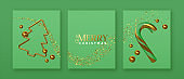 Christmas green card set 3d gold party decoration