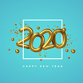New Year 2020 gold 3d number date party card
