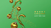Christmas New Year gold 3d party decoration card
