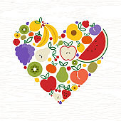 Fruit icon heart shape for organic food concept