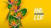 Hello Summer yellow card of 3d paradise flower