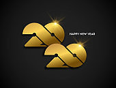 Happy new year 2020 gold greeting card