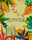 Summer card of tropical paradise flower plants background