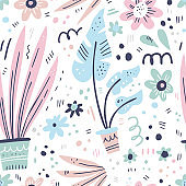 House plants hand drawn color vector seamless pattern