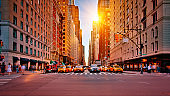 New York Avenue. Street. Sun. Yellow Taxi. Conceptual Famous View