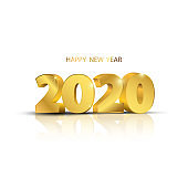 Happy New Year 2020 background. Greeting card design template gold. Celebrate brochure or flyer.