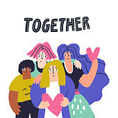 International friends standing together hand drawn illustration. Smiling students hugging cartoon characters. Multiracial friendship, teamwork concept. Racial diversity banner design element