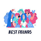 Best friends hugging flat hand drawn illustration. Positive teenagers, school children cartoon characters. Happy smiling students isolated on white background. Friendship banner design with typography