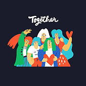 Friendship, stay together vector hand drawn illustration. Friends having fun cartoon characters. Smiling young girls hugging, female team cooperation concept. Togetherness  poster design element