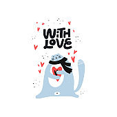 Cute cat holding heart vector color character