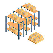 Cargo Cardboard Box Flat Design. Delivery Service. Vector
