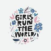 Girls run the world message illustration
