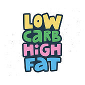 Low carb high fat cartoon vector lettering