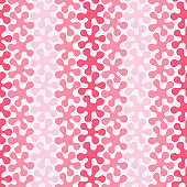 Set of seamless patterns with gradient colored abstract flowers on a light background.