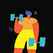 Sport exercise with dumbbells fla color drawing