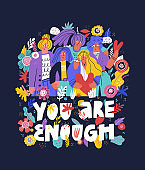 You are enough hand drawn vector lettering. Scandinavian style friends standing together. Teenagers hugging, team support with typography. Banner, poster design with Encouraging saying